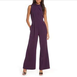 NWT Julia Jordan Plum high neck jumpsuit wide 8
